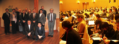 Left picture: Lecturers, Right picture: Ambience on that day, Yayoi Auditorium of The University of Tokyo